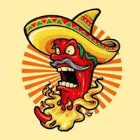 Mexicaanse roodgloeiende chili peper met hoed mascotte