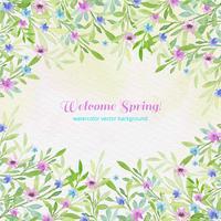 Vector aquarel welkom lente achtergrond