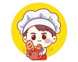 schattige bakkerij chef-kok jongen met brood lachend cartoon kunst illustratie vector