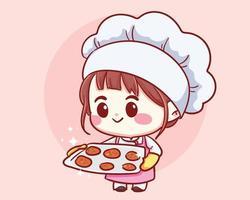 schattige bakkerij chef-kok meisje dienblad met vers gebakken koekjes te houden. kind in chef-kok hoed en uniform. cartoon karakter cartoon kunst illustratie.