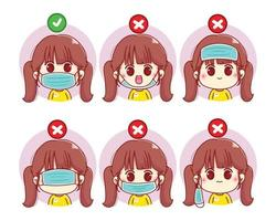 hoe draag je een gezichtsmasker schattig meisje cartoon karakter illustratie vector