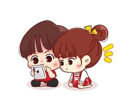 paar kijken naar de smartphone happy valentine cartoon karakter illustratie vector