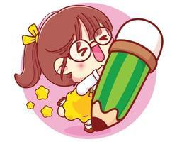schattig meisje met potlood cartoon karakter illustratie vector