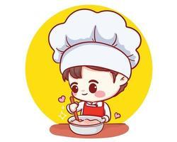 schattige bakkerij chef-kok jongen koken lachende cartoon kunst illustratie