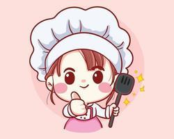 professionele meisje chef-kok met pollepel in handen bakkerij cartoon kunst illustratie
