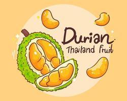 durian set thais fruit hand getrokken kunst illustratie