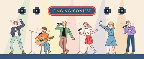 muzikanten die zingen in een zangwedstrijd. vector