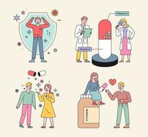 gezondheidssupplementen en mensenkarakters. vector