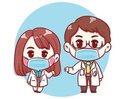 mannelijke en vrouwelijke schattige dokterskarakters in de illustratie van de beeldverhaalstijl
