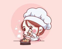 lachende chef-kok vrouw. vrouw chef heeft plezier koken. hand getekend vectorillustratie