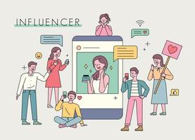 influencer reclame marketing. vector