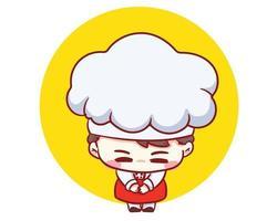 schattige bakkerij chef-kok jongen bedankt cartoon vector kunst illustratie