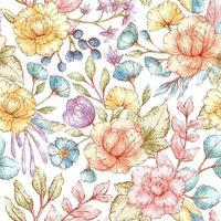 aquarel stijl naadloze bloemmotief vector