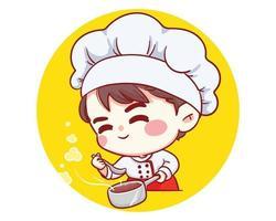 schattige bakkerij chef-kok jongen proeven en glimlachen cartoon kunst illustratie