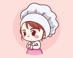schattige bakkerij chef-kok meisje armen gekruist lachende cartoon kunst illustratie