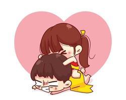 schattig meisje genieten van meeliften rit op zijn rug happy valentine cartoon karakter illustratie vector