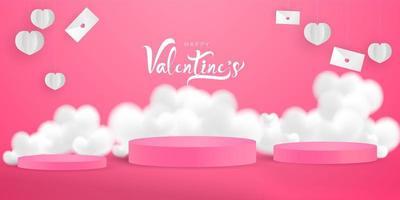 Valentijnsdag, sjabloon voor spandoek. podia, letters en harten vector