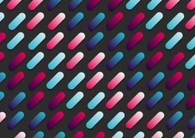 abstract roze en blauw gradiëntkleur afgerond lijn diagonaal patroon op zwarte achtergrond. vector