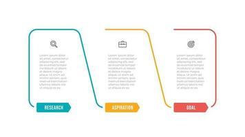 zakelijke infographic sjabloon. dunne lijn labelontwerp met pictogram en 3 opties of stappen. kan worden gebruikt voor infografiek, workflowdiagram, jaarverslag. vector