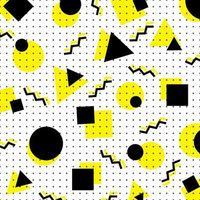 abstract geel en zwart geometrisch cirkel, vierkant, driehoekspatroon op witte achtergrond in Memphis-stijl.