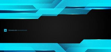 abstracte lay-out moderne technologie ontwerp banner websjabloon metallic blauw frame geometrische overlapping met verlichting en deeltje op zwarte achtergrond.