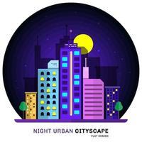 nacht stedelijk stadsgezicht plat ontwerp met architectuur, wolkenkrabbers, toren, gebouwen. vector