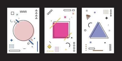 set van dekking ontwerp brochure sjabloon abstracte achtergrond geometrische memphis stijl