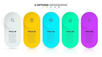 zakelijke infographic sjabloon. tijdlijn processen ontwerp met marketingpictogrammen en 5 opties of stappen. vector illustratie.