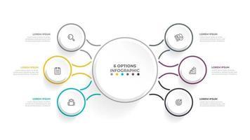 vector 6 opties infographic sjabloonontwerp met dunne lijn. bedrijfsconcept met plat pictogrammen. kan worden gebruikt voor workflow-diagram, jaarverslag, webdesign.