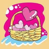 roze harten in de mand voor Valentijnsdag