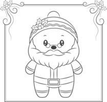 vrolijk kerstfeest schattige kerstman tekening schets om in te kleuren