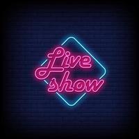 live show neonreclamestijl tekst vector