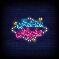 trivia nacht neonreclames stijl tekst vector