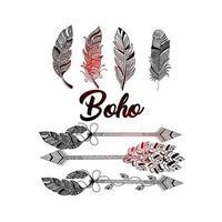 hand getekend boho-stijl op een mooie achtergrond van decoratieve cirkel met veren vector
