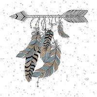 hand getrokken boho-stijl van decoratieve pijl met veren vector