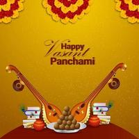 creatieve veena en boeken voor gelukkige vasant panchami-vieringsachtergrond vector