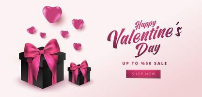 Valentijnsdag verkoop 50 korting op poster of banner met hartjes en realistische geschenkdoos op zachte roze achtergrond. winkelen en promotie sjabloon voor Valentijnsdag conceptontwerp. vector
