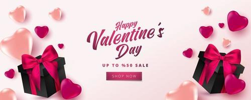 Valentijnsdag verkoop 50 korting op poster of banner met hartjes en realistische geschenkdoos op zachte roze achtergrond. winkelen en promotie sjabloon voor Valentijnsdag conceptontwerp.