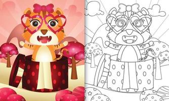 kleurboek voor kinderen met een schattige tijger in de geschenkdoos voor Valentijnsdag vector