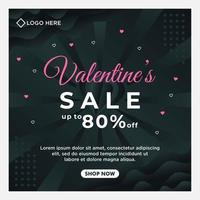 gelukkige Valentijnsdag verkoop sociale media postsjabloon met donkere achtergrondsjabloon