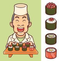 geïsoleerde sushi Japans eten met chef-kok tekenset vector