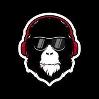 aap met koptelefoon en zonnebril mascotte vector