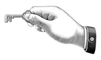 menselijke hand met sleutel tekening vintage stijl zwart-wit kunst geïsoleerd op een witte achtergrond vector