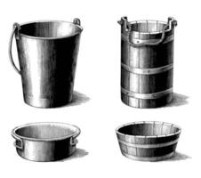 antieke illustratie van vintage emmer collectie zwart-wit kunst geïsoleerd op een witte achtergrond vector