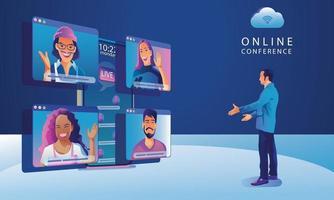 werkende mensen op raamscherm praten met collega's. videoconferenties en onlinevergaderingswerkruimtepagina, man en vrouw die vectorillustratie, vlak leren vector