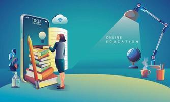 online onderwijsapplicatie leren wereldwijd op telefoon, achtergrond van mobiele website. sociale afstand concept. de klassikale opleiding, bibliotheek vector illustratie plat ontwerp