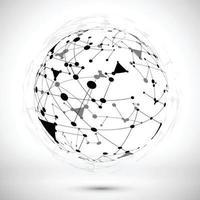 lijnen en driehoekige vormen vormen een zwart-witte bol.