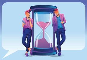 zakenlieden en onderneemsters met smartphones die rond de zandloper online werken. tijd beheren van concepten, zaken online, digitale marketing, multitasking, prestaties, deadline. vector illustratie