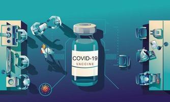 medisch team en wetenschapper hebben ontdekt dat het covid-19-vaccin, de laboratoriumtest, de injectiespuit, een vaccinflesje bezig is met de test. vaccinontwikkeling klaar voor behandeling illustratie, vector plat ontwerp