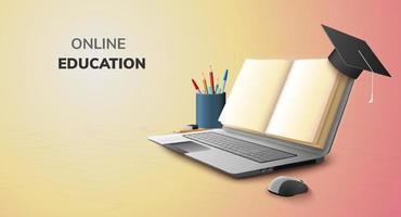digitaal boek online onderwijs lege ruimte papier en afgestudeerde hoed op laptop mobiele telefoon website achtergrond. sociale afstand concept